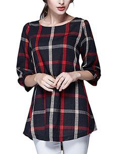 Tanming Womens Loose Plaid TShirt Dress Large Red >>> Want additional info? Click on the image.