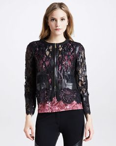 Just Cavalli Laser-Cut Leather & Lace Jacket, Printed Tee & Pieced Skinny Pants - Neiman Marcus