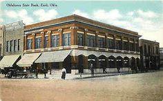 Enid Oklahoma OK 1908 Oklahoma State Bank Collectible Antique Vintage Postcard Enid Oklahoma OK Circa 1908 Oklahoma State Bank with J. F. Womble Dry Goods and Frantz Hardware Company next door. Unused