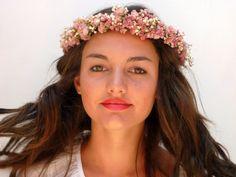 Peach  flower crown Wedding hair accessories by BlackSwanFeather