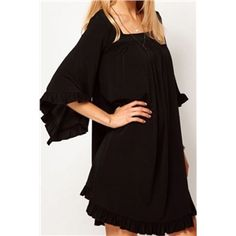 Self-tied Flouncing Crop Sleeves Pleated Black Dress | pariscoming