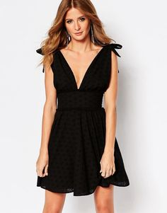 Millie Mackintosh Bow Mini Dress in Broderie Anglaise