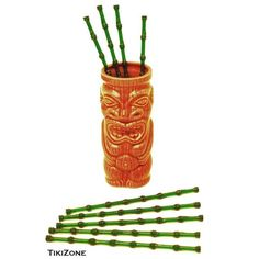 This set of 25 bamboo-like swizzles are perfect for your luau or party. They look like little bamboo sticks and are reusable. Made hard of plastic.