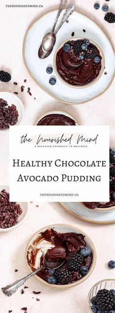 This Healthy Chocolate Avocado Pudding is both decadent and nutritious: high in fibre, and free of refined sugars!   The Nourished Mind Baking Recipes, Whole Food Recipes, Dessert Recipes, Desserts, Healthy Recipes, Decadent Chocolate, Healthy Chocolate, Paleo Lemon Bars, Clean Eating Recipes