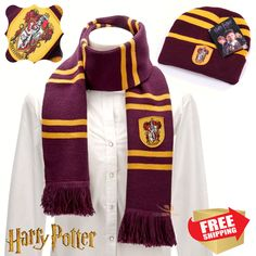 NEW Harry Potter Hogwarts Gryffindor Scarf and Hat Set Cosplay Christmas Gift Harry Potter House Colors, Harry Potter Houses, Harry Potter Hogwarts, Hat Sizes, Christmas Gifts, Cosplay, Hats, Jackets, Fashion