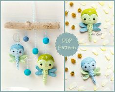 Drangonflies. Baby mobile PDF Pattern by Noialand on Etsy