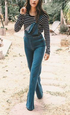 Overall and stripes #70s #Boho #Vintage