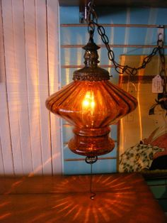 Swanky Amber Swag Lamp = Now at Retro!