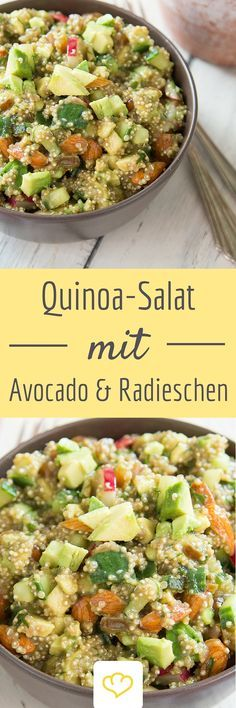 Eine ganze Schüssel voll Energie: Quinoa, Avocado und Mandeln werden kombiniert mit Radieschen, Gurke, und Dill zu einem gesunden und würzigen Salat. Das perfekte Mittagessen fürs Büro und unterwegs.