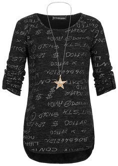 Styleboom Fashion Damen Shirt mit Kette Turn-Up Ärmel Text Print schwarz melange - 77onlineshop
