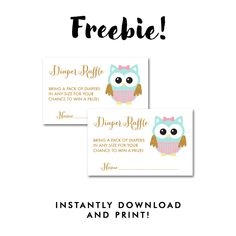 Free Baby Shower Owl Pink Aqua Gold Glitter   Insert Diaper Raffle Ticket    Instant Download