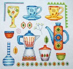 Susan Bates sampler Tapestry Design, Crossstitch, Teacups, Cross Stitching, Needlework, Pots, Projects To Try, Embroidery, Coffee