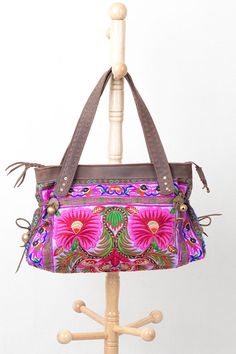 Gorgeous Purple Flower Shoulder Bag Genuine Leather with Hmong Embroidered (BG103PURH)