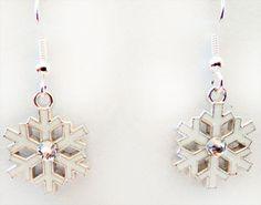 1156 - Snowflake earrings, Christmas earrings, winter earrings, snowflake jewelry, Christmas jewelry, winter jewelry, clear crystal, earring by EarringsBraceletsEtc on Etsy