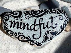 Gifted to Lynn Mindful / Painted Rock / Sandi Pike Foundas / Cape Cod Sea Stone via Etsy Pebble Painting, Pebble Art, Stone Painting, Painting & Drawing, Painting Videos, Stone Crafts, Rock Crafts, Rock Painting Designs, Paint Designs