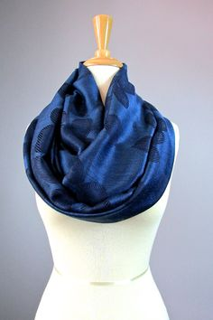 Navy scarf dark blue infinity scarf floral by ScarfObsession, $24.00