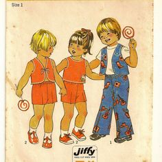 A Front or Back Tie, Button-Trimmed Vest, and Elastic Waist Pants or Shorts Pattern for Toddlers, Vintage 1975