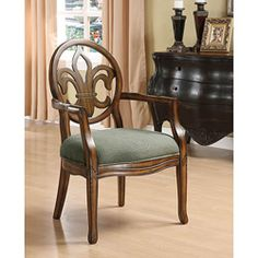 @Overstock.com - Fleur de Lis Arm Chair - Provide additional seating in your dining area with this classic arm chair. It is constructed with a solid wood frame for added durability and sophistication, and the intricate fleur de lis back design will add style and grace to any meal.   http://www.overstock.com/Home-Garden/Fleur-de-Lis-Arm-Chair/4345680/product.html?CID=214117 $125.99