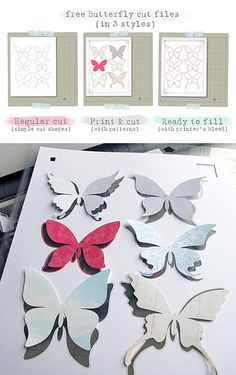 free Butterfly Silhouette Studio cut  files; cut files, print and cut files with printer bleed, blank cuts that can be filled as well.