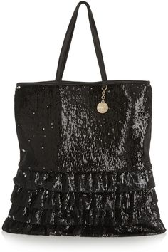 REDVALENTINO - Leather-trimmed sequined satin tote €441.65