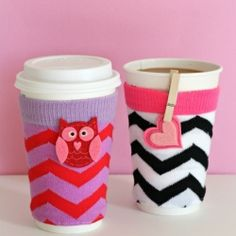 How do you like your coffee or tea?  Cream & sugar with a side of chevron, maybe?  Make a coffee cozy in 2 easy steps!