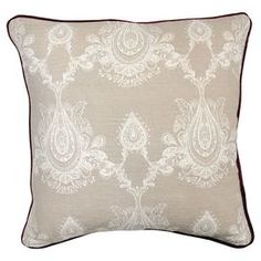 "Add a pop of cosmopolitan style to your living room sofa or reading nook arm chair with this chic cotton and linen pillow, showcasing an exotic damask motif and feather-down fill.  Product: PillowConstruction Material: Linen and cotton cover and feather and down fillColor: RedFeatures: Insert includedDamask motifDimensions: 22"" x 22"""