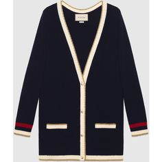 Gucci Embroidered Oversize Knit Cardigan ($2,300) ❤ liked on Polyvore featuring tops, cardigans, dark blue, gucci top, oversized knit tops, blue knit top, blue top and cardigan top