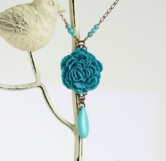 Free Shipping  Statement Necklace Teal Flower by JacarandaDesigns