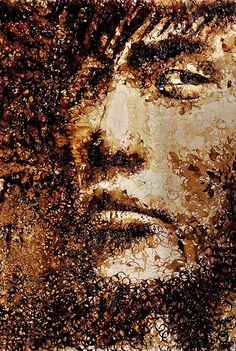 Coffee stained portrait made using nothing but the Nescafe coffee stains on the bottom of a mug. Artist Hong Yi #art