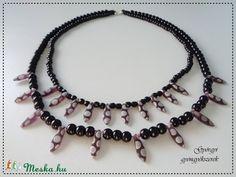 Kétsoros fekete-lila mintás nyaklánc (gyorgyi24) - Meska.hu