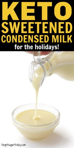 A keto sweetened condensed milk recipe perfect for the holidays! A keto sweetened condensed milk recipe perfect for Keto Coffee Recipe, Coffee Recipes, Keto Syrup Recipe, Low Carb Sweets, Low Carb Desserts, Keto Fat, Low Carb Keto, Tapas, Condensed Milk Recipes