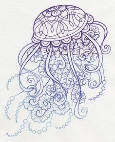 Drifting Jellyfish  Embroidered Decorative by EmbroideredbySue