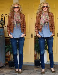 great fall look - make any plain tee + jeans more polished with a great jacket and scarf.