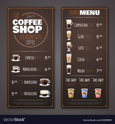 Coffee shop menu design template vector image on frank mchar Drink Menu Design, Cafe Menu Design, Cafe Shop Design, Restaurant Menu Design, Restaurant Identity, Restaurant Restaurant, Shop Banner Design, Menu Board Design, Modern Restaurant