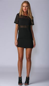 DON'T MESH WITH US SHIFT DRESS IN BLACK
