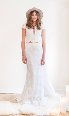 """Bohemian Crochet Lace Capsleeve Lace Up Wedding Dress for Untraditional Bride - """"Morrison""""by Daughters of Simone"""