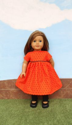Orange Doll Dress Polka Dot Doll Dress with Black by DonnaDesigned, $23.00