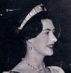 Princess Margaret wearing the Empress Marie Feodorovna's sapphire bandeau with a simple diamond collar and earrings