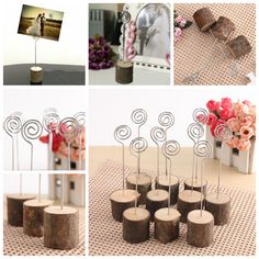 10pcs Wooden Wedding Table Card Photo Picture Holders Name Clip Hardwood Base #Unbranded