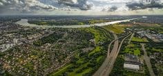 Blick von Leverkusen nach Köln über den Rhein