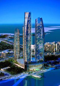 Hotel de Lujo en Abu Dhabi: Jumeirah at Etihad Towers - Worked in Dubai. Great Buildings And Structures, Amazing Buildings, Modern Buildings, Futuristic Architecture, Beautiful Architecture, Architecture Design, Building Architecture, Ancient Architecture, Abu Dhabi
