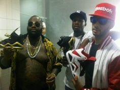 In recent videos Maybach Music Group members Meek Mill and Rick Ross has been supporting Swizz Beats endorsements via Reebok. Maybach Music Group, Hudson Nyc, Pink Dolphin, Crooks And Castles, Rick Ross, Jeans And Sneakers, Urban Outfits, Timberland, Reebok