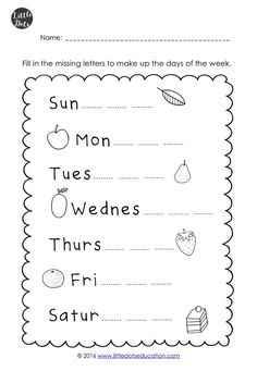 The Very Hungry Caterpillar Theme: Free Days of the Week Printables an Learning English For Kids, English Worksheets For Kids, English Activities, Literacy Worksheets, Letter Worksheets, Free Printable Worksheets, Free Days Of The Week Printables, Days Of The Week Activities, Ingles Kids