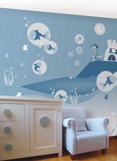 so cute mural for a boy's nursery