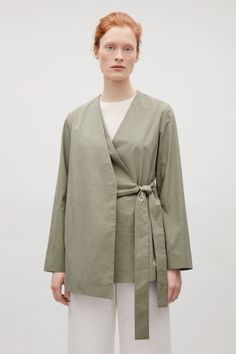COS image 1 of Layered wrap-over blazer in Sage Green