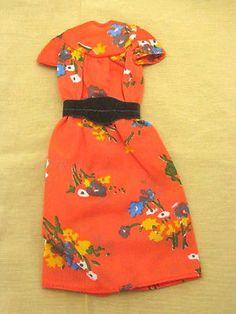 1976 Superstar Era Barbie Best Buy #9573 Red Orange Floral Dress w/ Brown Belt   eBay