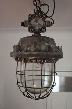 European vintage industrial furniture contemporary pendant lighting: Cage a sling back chair. Retro Industrial, Vintage Industrial Furniture, Industrial Living, Industrial Interiors, Industrial Design, Industrial Scandinavian, Industrial Bedroom, Industrial Bookshelf, Industrial Lamps