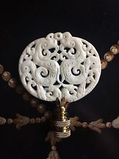 Bone White Chinoiserie Carved Stone Lamp Finial Home Decor Lighting Accessory