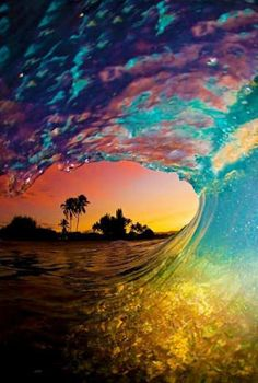 Rainbow sunset barrel #surf #beautiful