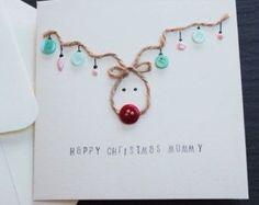 Dottie Rainbows Handmade Christmas Card - Reindeer Christmas Card - for mummy, daddy, teacher, sister, brother, wife, husband, or a name